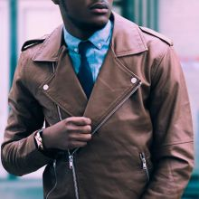 Class6 Brown Leather Biker Jacket
